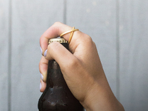 Bottle Opening Ring - Sz9 in Polished Gold Steel