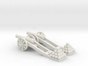 Cannon (Heavy) - Qty (2) HO 1:87 scale in White Natural Versatile Plastic