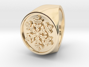 Snowflake - Signet Ring in 14k Gold Plated Brass: 9 / 59