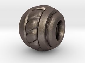 Solid Metal Bead 1 in Polished Bronzed Silver Steel