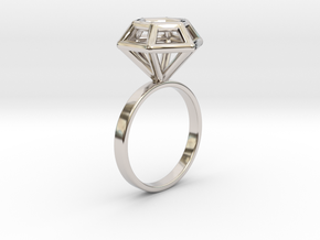Wireframe Diamond Ring (size 7) in Rhodium Plated Brass