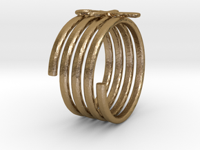 Spiral Ring in Polished Gold Steel