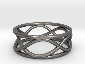 Infinity Ring- Size 6 in Polished Nickel Steel