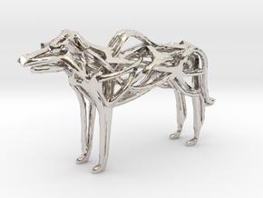 GeoHound Dog Pendant Keychain in Rhodium Plated Brass