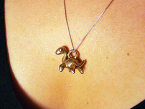 Nessie Necklace Pendant in Polished Bronzed Silver Steel