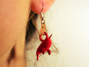 Narwhal Earrings in Red Processed Versatile Plastic