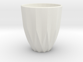 Polygon cup in White Natural Versatile Plastic