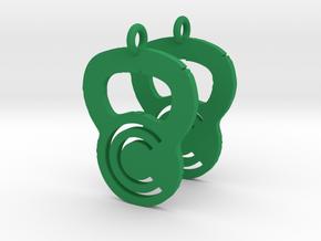 Crossfit Commence Earrings in Green Processed Versatile Plastic