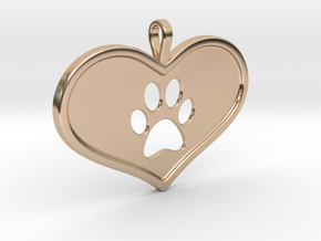 Paw in heart in 14k Rose Gold Plated Brass
