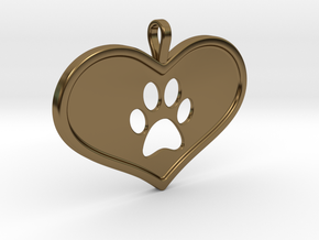Paw in heart in Polished Bronze