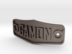 Dog Collar Name Tag in Polished Bronzed Silver Steel