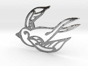 Swallow in Fine Detail Polished Silver