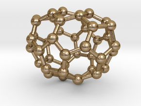0234 Fullerene C42-13 c2v in Polished Gold Steel