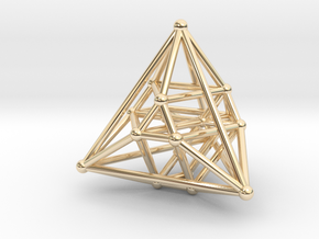 Hyper Tetrahedron Vector Net 33mm in 14k Gold Plated
