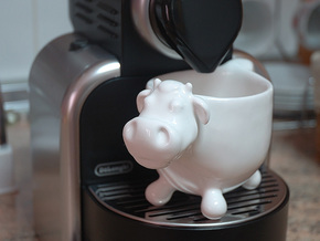 The cow, coffee cup  in Gloss White Porcelain
