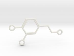 Dopamine Molecule Pendant w Multiple Attachments in White Natural Versatile Plastic