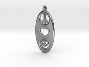 Peace Love Happiness in Fine Detail Polished Silver