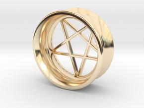 Pentagram Ear Plug in 14K Yellow Gold