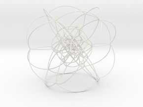 Rectified 24-Cell, Stereographic Projection, Large in White Natural Versatile Plastic