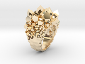 Double Crystal Ring Size 10 in 14K Yellow Gold