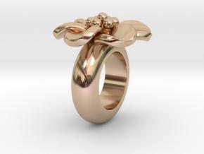 T667 flower pendant charm for leather bracelet in 14k Rose Gold Plated Brass