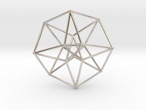 Sacred Geometry: Toroidal Hypercube 40mmx1mm in Rhodium Plated Brass