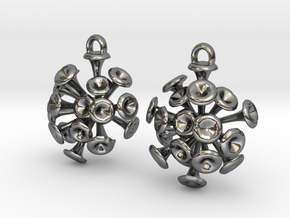 Discosphaera Coccolithophore earrings in Fine Detail Polished Silver