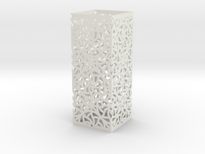 Lamp Square Column - Curved Star Pattern V2 in White Natural Versatile Plastic