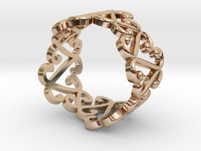 Open Hearts Adjustable band ring in 14k Rose Gold