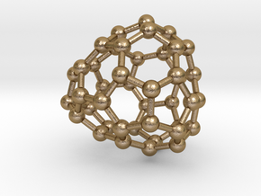 0254 Fullerene C42-33 c1 in Polished Gold Steel