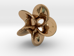 Geometric Pendant -  Mobius Flower in Polished Brass