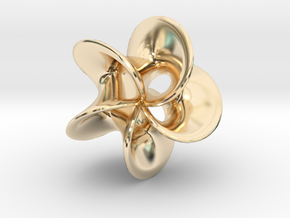 Geometric Pendant -  Mobius Flower in 14k Gold Plated Brass