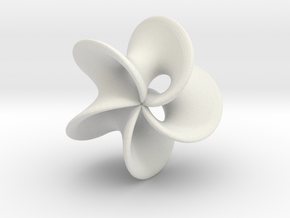 Geometric Pendant -  Mobius Flower in White Natural Versatile Plastic