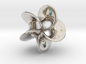Geometric Pendant -  Mobius Flower in Rhodium Plated Brass