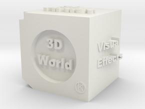 Cube of 3D Artist in White Natural Versatile Plastic