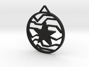 Winter Soldier Star Pendant (Small) in Black Natural Versatile Plastic