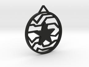 Winter Soldier Star Pendant (Large) in Black Natural Versatile Plastic