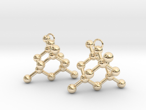 Diamond earrings in 14k Gold Plated Brass