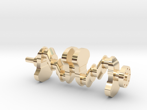 Motor part. crankshaft in 14K Yellow Gold