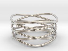 Triple Loop Ring (8) in Rhodium Plated Brass