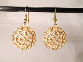 Cell Earrings - small in Polished Gold Steel
