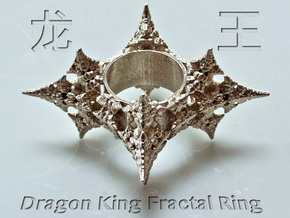 Dragon Fractal Ring 21mm in Raw Silver