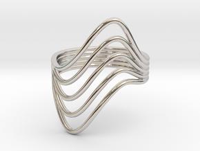 RingMakr Flows b size 7 in Rhodium Plated Brass