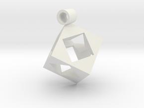 Cube Pendent in White Natural Versatile Plastic