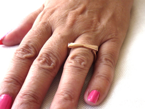 Adjustable ring. Basic model 12. in 14k Rose Gold Plated Brass