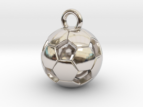 SOCCER BALL D in Rhodium Plated Brass