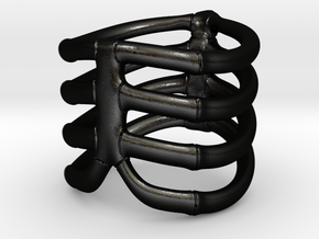Thorsten 4 Rib - Ring in Matte Black Steel: 9 / 59