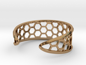 Cuff Bracelet, Honeycomb Mesh in Polished Brass