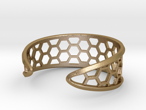 Cuff Bracelet, Honeycomb Mesh in Polished Gold Steel