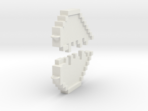 Friendship Heart Pendant in White Natural Versatile Plastic